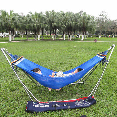 Portable Garden Hammock with Metal Stand Outdoor Double Swing with Frame 3 Color