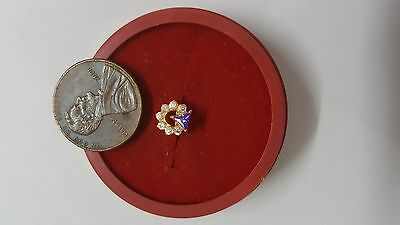 22K Gold Nose Pin 7 White Stones 1 Violet Triangle Jewelry Fine UK photo #ETEAP