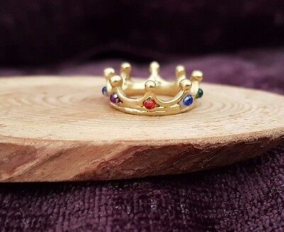 Miniature GOLD gemstone CROWN 1:12th scale dolls house castle king UK SELLER