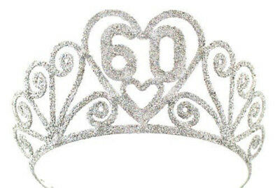 "Birthday ""60"" Silver Spakle Tiara Adult Crown"