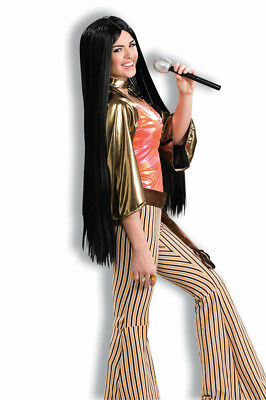 60's Babe Long Black Cher Adult Costume Wig