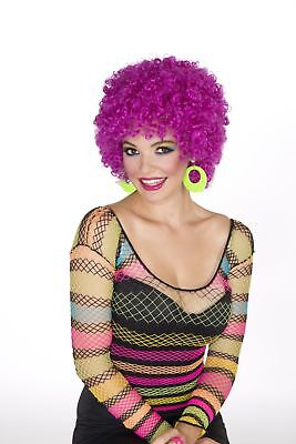 Club Candy Costume Afro Wig Adult - Neon Purple One Size