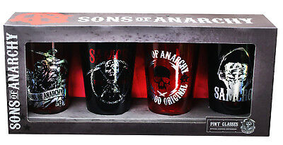 Sons of Anarchy Foil Print Pint Glasses, Set of 4
