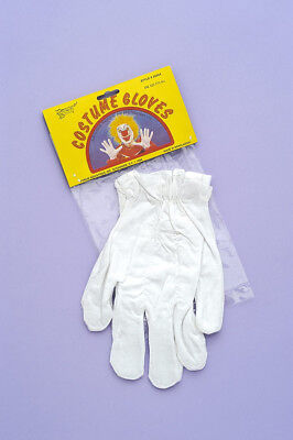 White Circus Clown Adult Costume Gloves