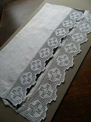 "Antique white Irish linen towel crochet lace to both ends. 23"" x 46"""