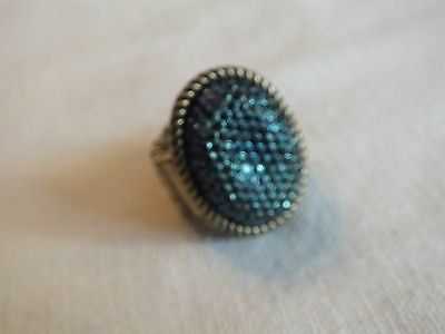 "Beautiful Stretch Cocktail Ring Gold Tone Iridescent Blue Rhinestone 1 1/4"" Face"