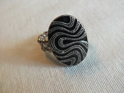"Beautiful Stretch Cocktail Ring Silver Tone Black Enamel Texture 1"" Face"