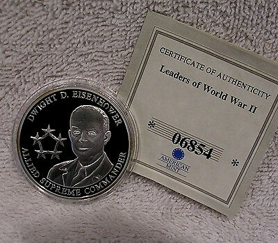 Dwight D. Eisenhower Coin WWII - 40mm  Medal Token Medallion by American Mint