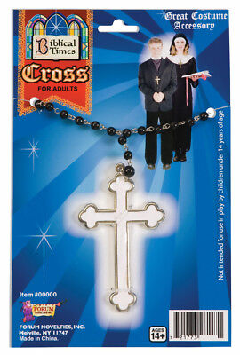 White Cross Nun Priest Monk Costume Necklace Accessory