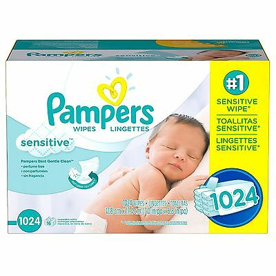 PAMPERS Sensitive Baby Wipes 1024ct.FREE SHIPPING & PERFUME FREE,