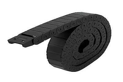 Black Long 1M 1000mm Nylon Semi Closed Cable Drag Chain Wire Carrier 15mm x 20mm