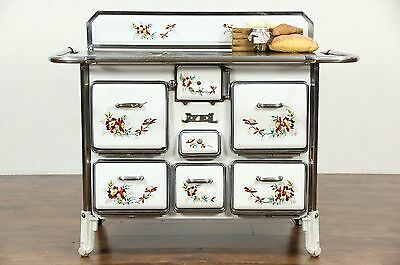 French Antique Painted Porcelain Kitchen Stove or Kitchen Island, Signed Jyel