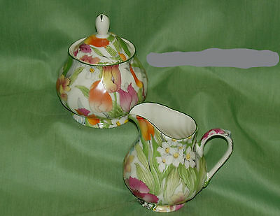 English Bone China~SPRING FLORAL Covered Sugar & Creamer  ~Made in England~New