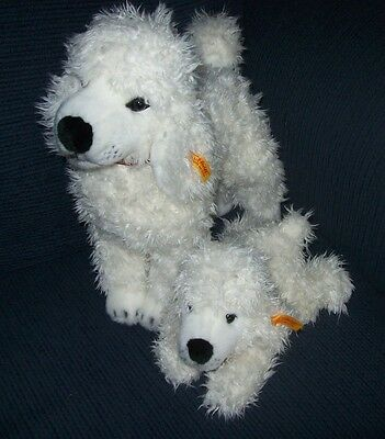 Steiff American Kennel Club 2004 Mama & Baby White Poodles, Very Good Condition