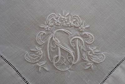 Vintage Linen Placemat Table Runner Napkins Fancy Triple Monogram S Hemstitch