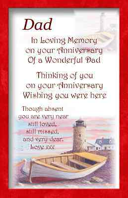 A+ Anniversary Dad Bereavement Graveside Memorial Keepsake Card m9