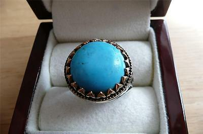 Heavy Ethnic 925 Silver Cabochon Turquoise Mens Signet Ring Size X Us 12