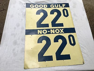 Vintage Good Gulf 22 No-Nox 22 Gasoline Double Sided Tin Sign