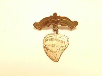 Vintage brass colored heart shaped pin: Remembrance of Confirmation