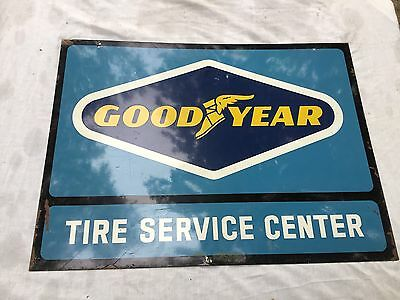 Vintage Good Year Tire Service Center Two Sided Metal Sign