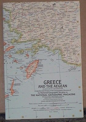 Vintage 1958 National Geographic Map of Greece and the Aegean