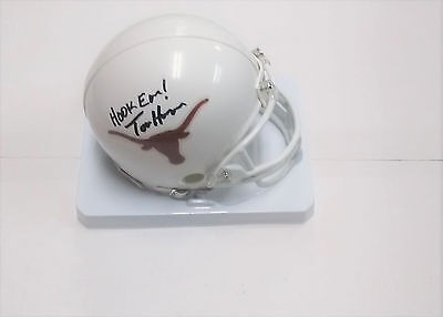 TOM HERMAN Texas Longhorns Football Coach SIGNED Mini Helmet