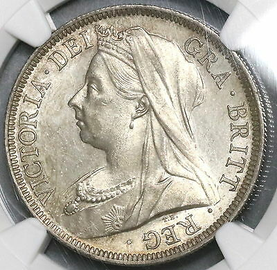 1900 NGC MS 64 Silver 1/2 CROWN Victoria GREAT BRITAIN Coin (16041002D)