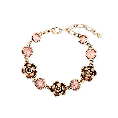 Fashion New Vintage Gold Plated Rose Flower Topaz Crystal Dot Bracelet for Women
