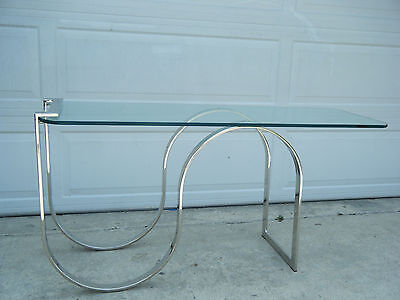 Vintage MCM Chrome Flat Bar Milo Baughman Style Console Table