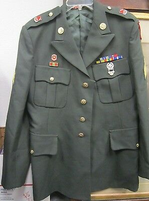 Genuine US ARMY CORPS OF ENGINEERS Dress Green Jacket w/ pins & ribbons *