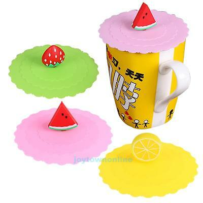 Fruit Silicone Coffee Mug Magic Cover Anti-dust Reusable Glass Cup Lid Cap