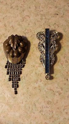Antique Dress Clips Blue Rhinestone One And Goldtone One