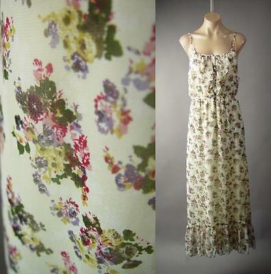 Victorian Country Prairie Floral Print Ruffle Slip Long Maxi 233 mv Dress M L