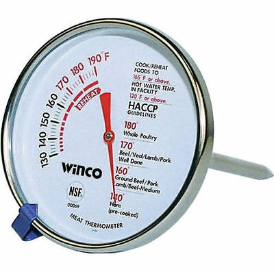 """Meat Thermometer Winco Winware Accurate 2"""" Dial 5"""" NSF Probe Dual Temp Display"""