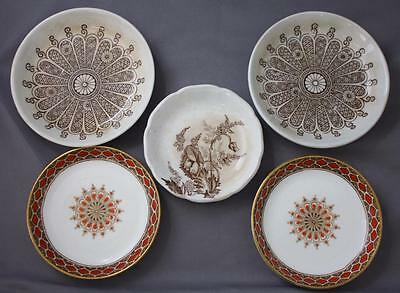 Lot 5 Brown Floral Antique Transferware Butter Pats Rust Brownfield & Son