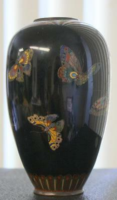 "Antique 5"" Japanese Meiji Cloisonne Vase Butterfly Insect On Some Damage"