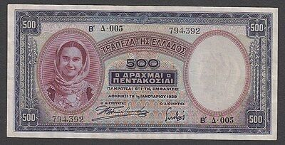 500 Drachmes From Greece 1939
