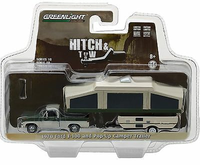 1:64 GreenLight *HITCH & TOW 10* Green 1970 Ford F-100 Pickup w/POP-UP CAMPER