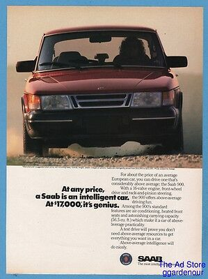 1988 Saab 900 Photo Print Ad Vintage Car Advertisement