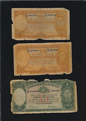 Australia - 3 Old Notes - 10 Shillings- Pound Notes P-25 & P-26 - Way Below Face