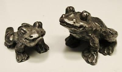 2 MINIATURE PEWTER FROGS Dollhouse Animal MINI FROG Tiny Toad