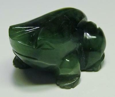 Carved GREEN JADE FROG Miniature Dark Marbled Green Stone FIGURINE