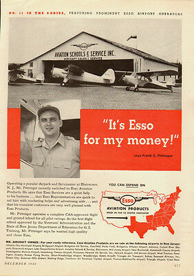 1946 Vintage ad for Esso Aviation Products~Hanger/old airplane (092613)