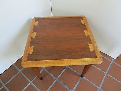 Mid Century Modern Side table Lane Acclaim Series wood inlaid dovetail surface