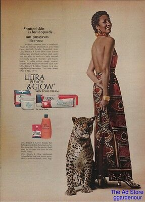 1975 Ultra Bleach & Glow Skin cream Leopard African American Woman Photo Ad