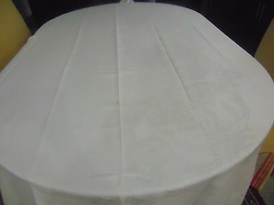 Very Large Pre Owned Linen Damask Banquet Tablecloth  75 x 176 Mono FB