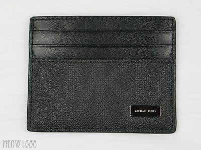 New Authentic Michael Kors Men JET SET Black Logo Tall Card Case Wallet $48