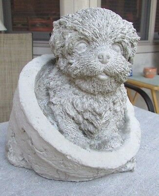 Concrete Shih Tzu, Or Havanese Or Lhasa Apso Dog In A Flower Pot