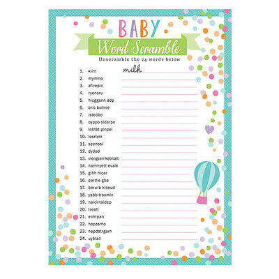 24 x sheets Baby Shower Word Scramble Party Games Unisex Baby Shower Game