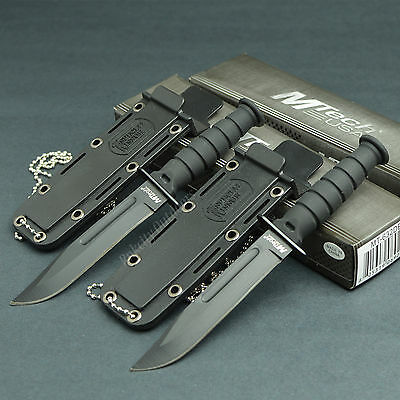 Lot Of 2 MTECH Kabai 440 Stainless Fixed Blade Neck Knives Knife Black 632
